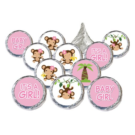Girl Monkey Pink Baby Shower Favor Stickers  Set Of 324