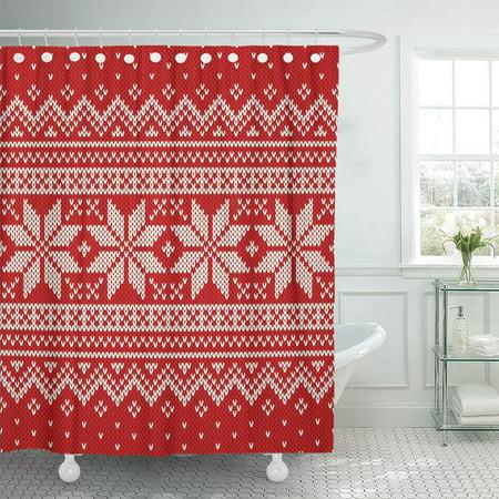 CYNLON Red Pattern Christmas Sweater Jumper Fair Isle Knit Fairisle Holiday Bathroom Decor Bath Shower Curtain 66x72 inch ()