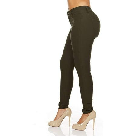 YDX Smart Jeans Juniors Denim Joggers for Women Cute Comfort Stretch High Rise Dark Green Size 5