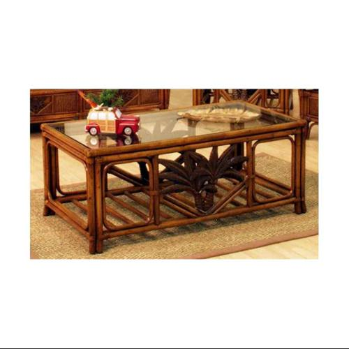 Cancun Palm Rattan & Wicker Coffee Table w Glass