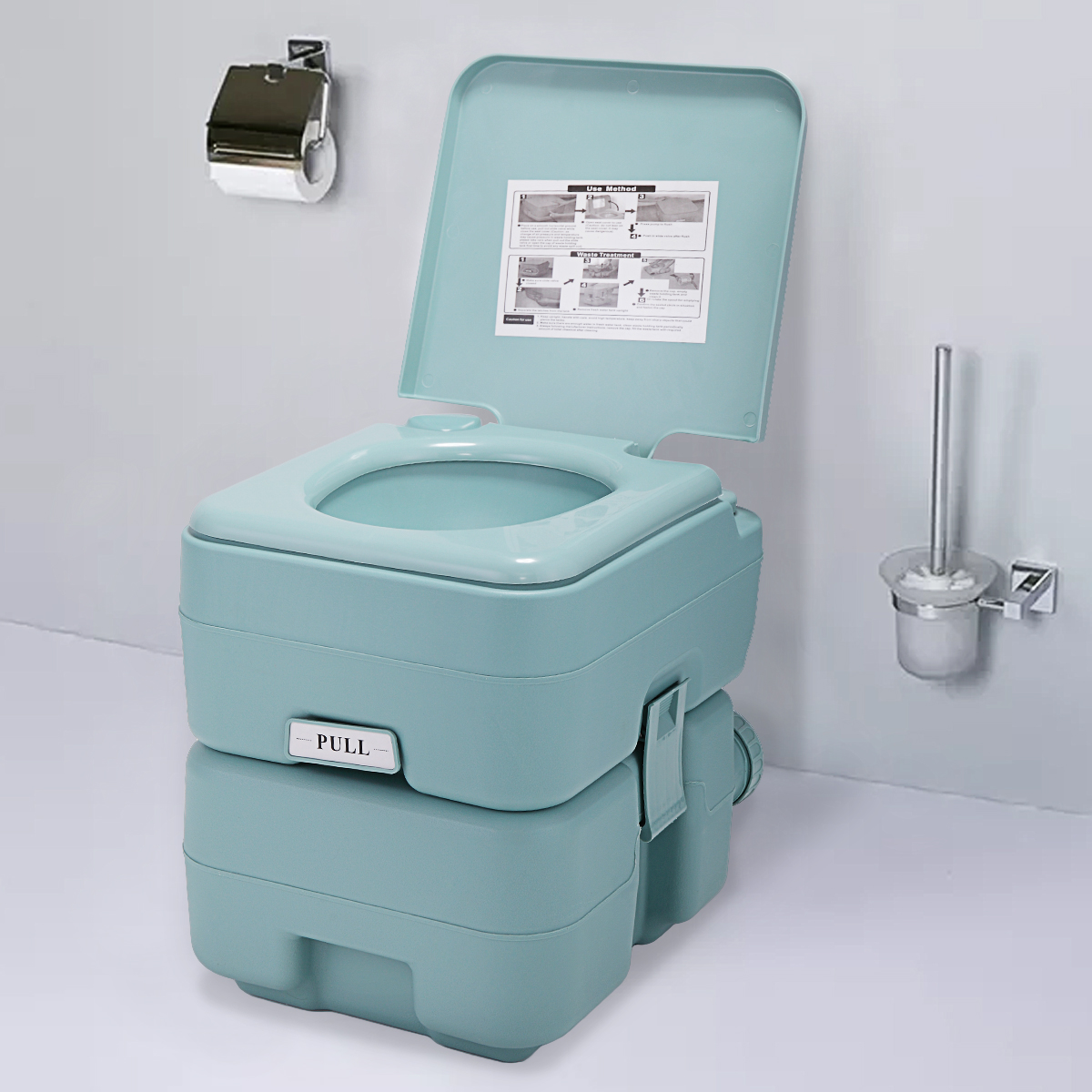 Portable Toliet 5 Gallon 20L Outdoor Camping Toilet Potty, Greenish Gray