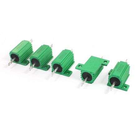 Rc18t Chassis (5Pcs Green 25W 80 Ohm Chassis Mounted Aluminum Shell Clad Resistor )