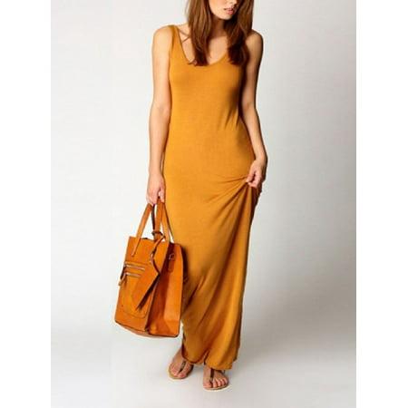 OUMY Women Cotton Bodycon Slim Long Maxi Pencil Dress