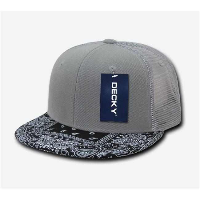 Decky Trucker Hats: Decky 1083-GRYBLK Bandanna Trucker Caps, Grey & Black
