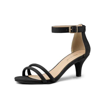 Women's Kitten Heel Ankle Strap Sandals Shoes Black (Size 6)