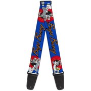 Bugs Bunny W Bugs Poses Blue Guitar Strap by