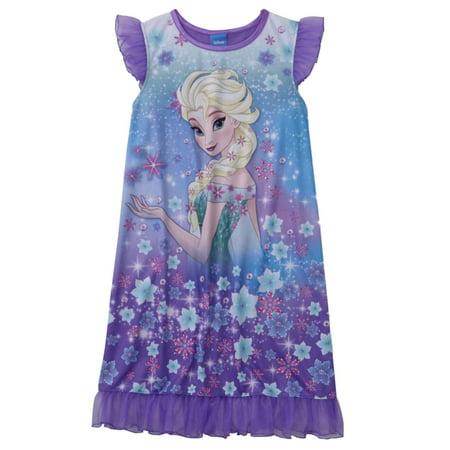 Disney Frozen Girls Purple Ruffle Elsa Pajama Sleep Dress PJs