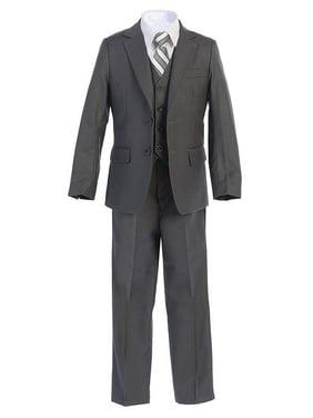 Boltini Italy Kids Formal Boys Suit Set - 5PC- Jacket, Shirt, Tie, Vest, Pants (Charcoal, 14)