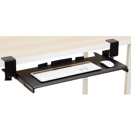 Mount-It! Under Desk Sliding Keyboard Tray with Clamp Installation; 27 Inches