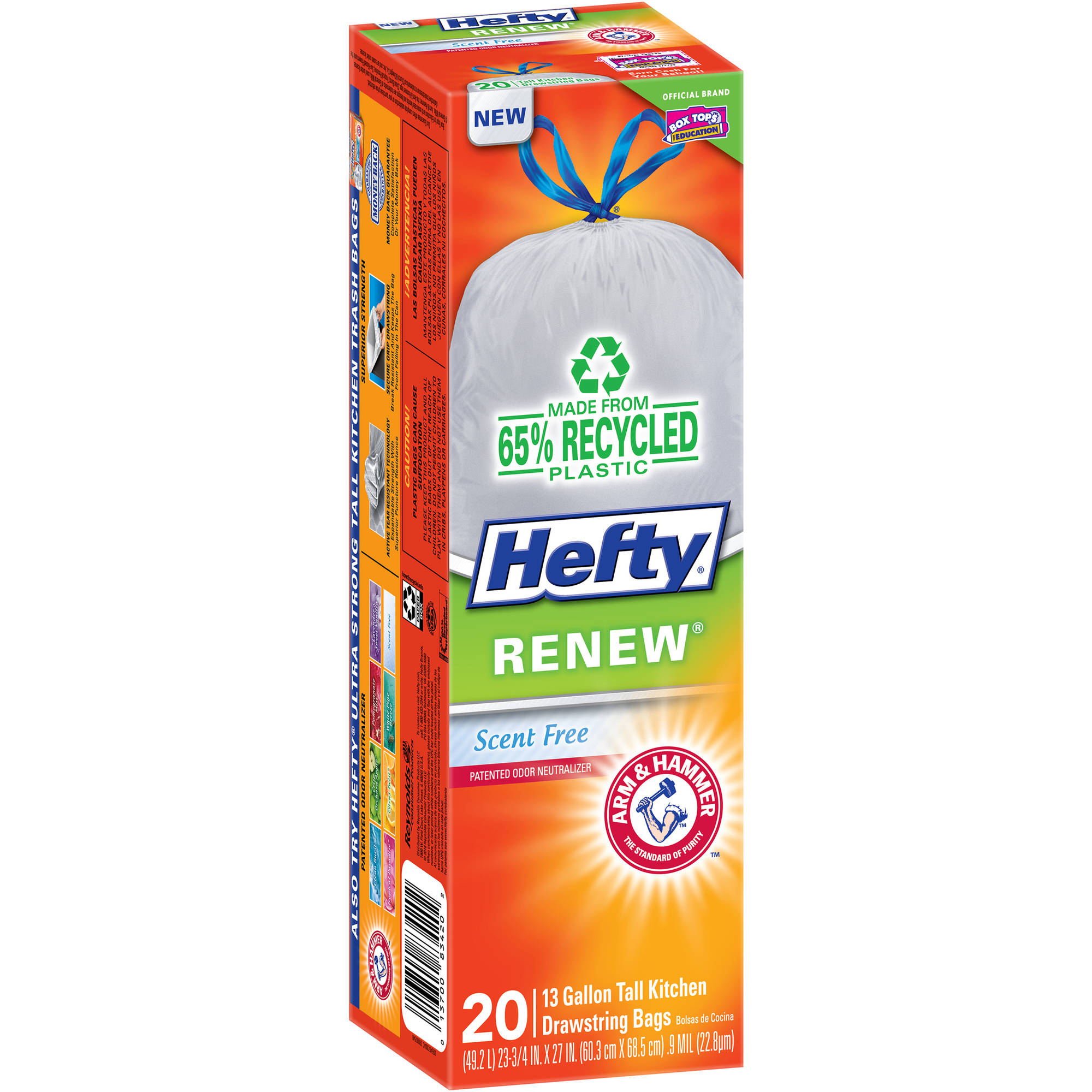 Hefty Renew Tall Kitchen Bags, 13 gal, 20ct