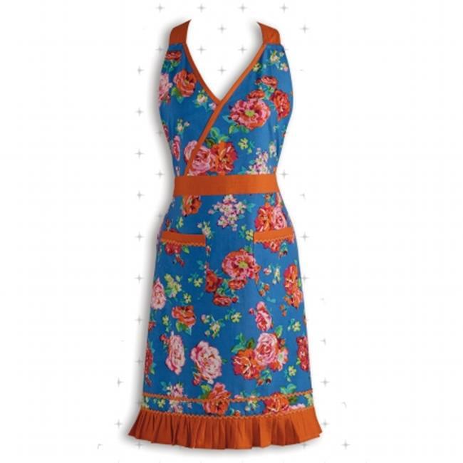Design Imports 26993 Blue Floral With Orange Ric Rac Apron
