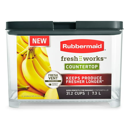 Rubbermaid Freshworks Countertop Produce Saver Banana Container, 31.2 Cup/7.4L, Clear/Grey