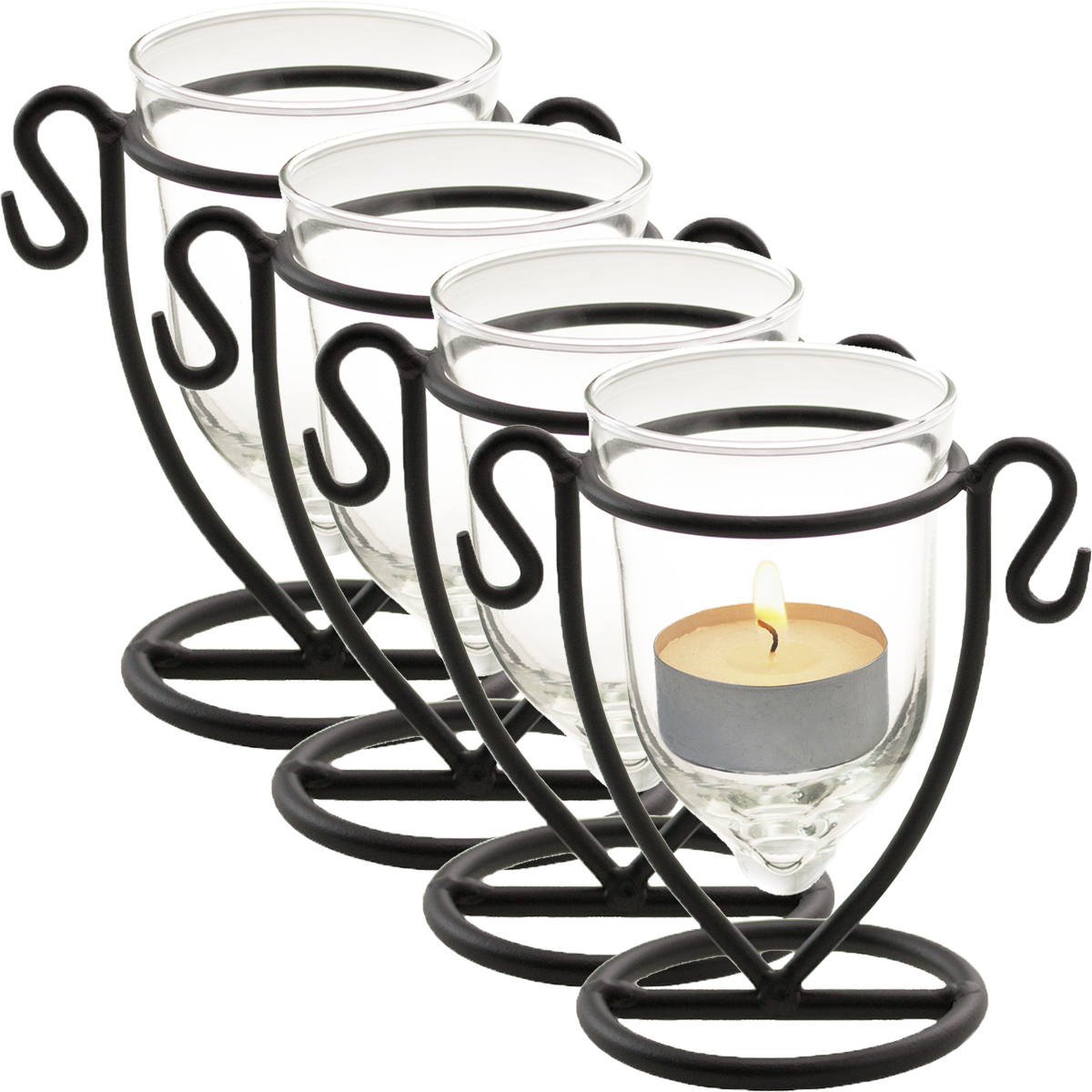 4 Domistyle Chateau Glass Tealight Candle Holder Set Black Metal Glass Tea Light by