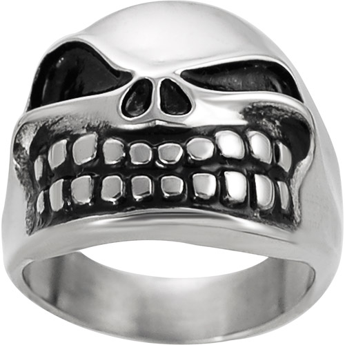 Daxx Men's Stainless Steel Jack the Pumpkin King Skull Ring