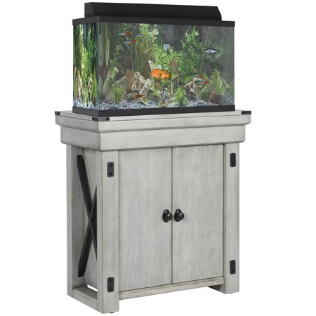 Home Aquarium Tanks - Ameriwood Home Wildwood 20 Gallon Aquarium Stand, Rustic White