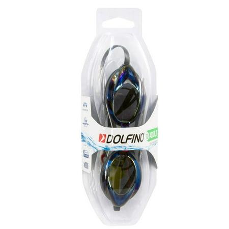 Dolfino Zeus Adult Swim Goggles with Mirrored Lenses in Blue