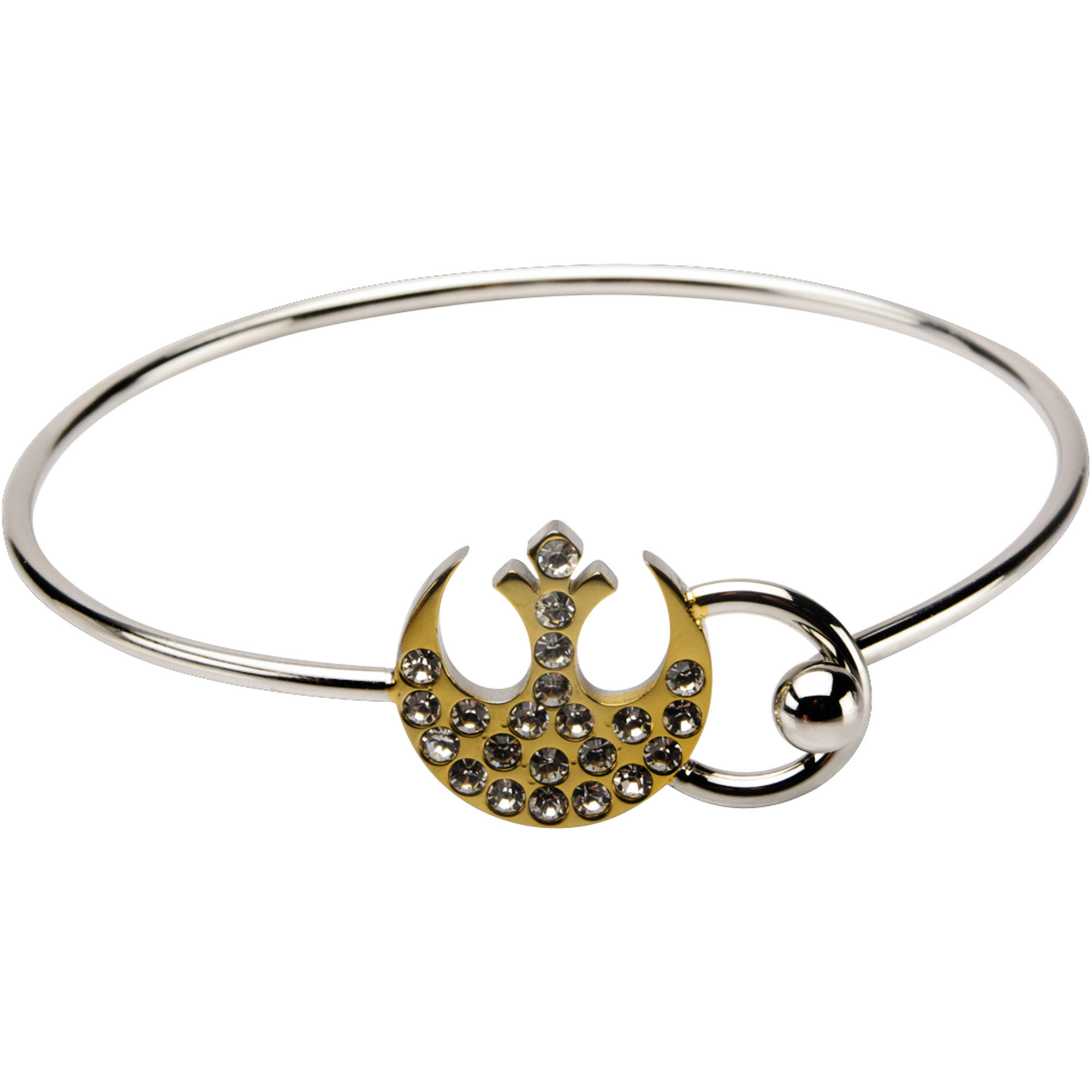 Disney Star Wars Women's Stainless Steel Gold IP Rebel Symbol Bangle Bracelet with Clear Gem, 7.5