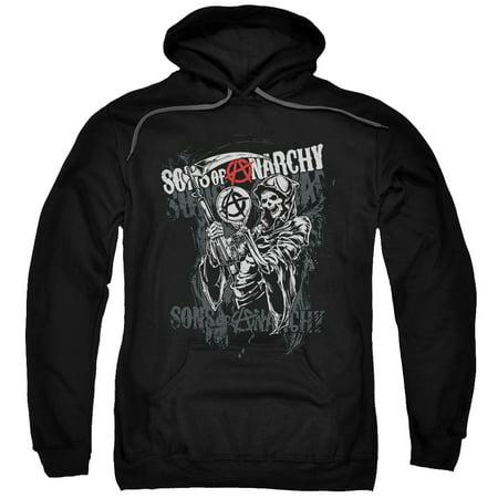 Sons Of Anarchy Men's  Reaper Logo Hooded Sweatshirt Black (Sons Of Anarchy Halloween)