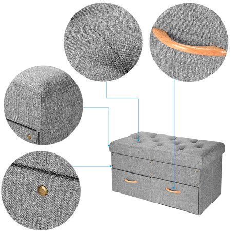 """SortWise Folding Storage Ottoman with Two large Drawers, Foot Rest Stool (Grey, 33""""x16 9/16""""x16 9/16"""") - image 3 of 7"""