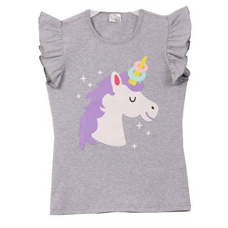 Toddler Girls Ruffle Sleeve Unicorn Cotton Summer School Top T-Shirt Tee Grey 2T XS - School Girl Top