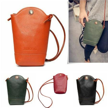 Girl12Queen Fashion Women's Mini Faux Leather Cross Body Bag Purse Bucket Phone Bag Gift