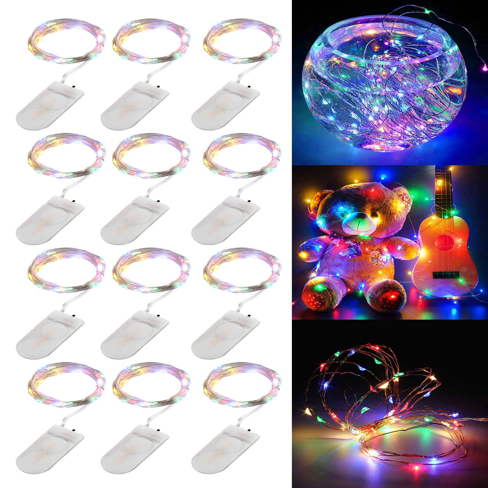 10 Sets of 3 LEDs Battery Operated Micro Wire String Silver Fairy Party Lights