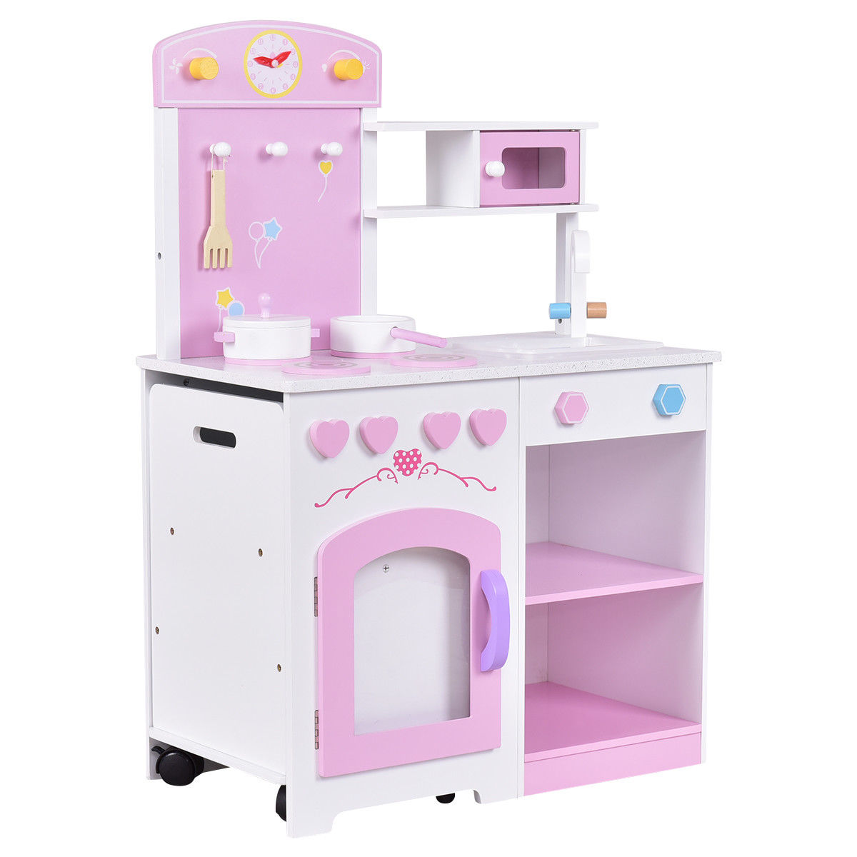 Gymax 2 in 1 kids kitchen play set wood pretend toy cooking set toddler with chair