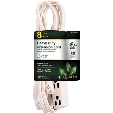 GoGreen Power 16/3 8' 3-Outlet Extension Cord, White, 19608