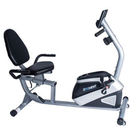 - EFITMENT Magnetic Recumbent Bike Exercise Bike with High Weight Capacity, Easy Adjustable Seat, LCD Monitor with Pulse and Phone Holder - RB034