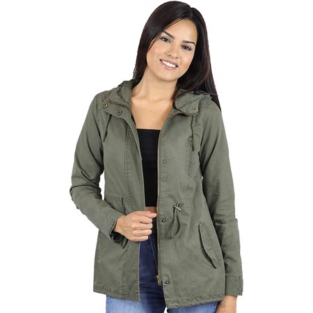 StyLeUp Women's Anorak Zip Up Military Hoodie Jacket (Ol m) (John Lennon Military Jacket)