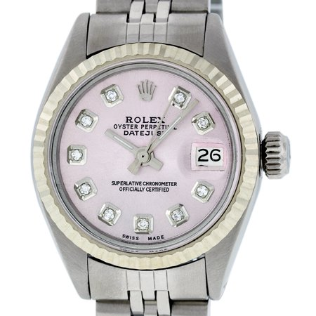 Pre-Owned Rolex Ladies Datejust Steel & 18K White Gold Ice Pink Diamond Watch Oyster Quickset