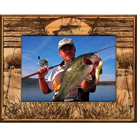 Bass Plaque Laser Engraved Wood Picture Frame (5 x 7) Laser Engraved Award Plaque