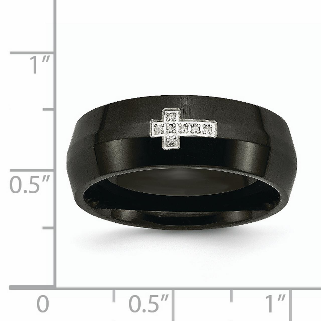 Stainless Steel Black Plated Diamond Cross Religious Band Ring Size 13.00 Man Fashion Jewelry Gift For Dad Mens For Him - image 4 of 7
