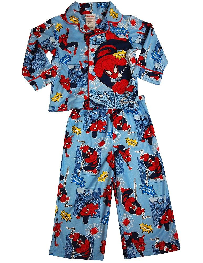 Spiderman Toddler Boys Long Sleeve Button Front Sleepwear Pajama Set, 36257 light blue / 2T