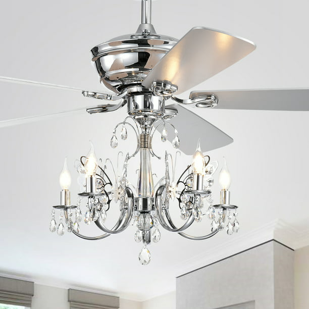 Camilla 52 Inch 5 Light Chrome Lighted Ceiling Fan With Branched Chandelier Remote Controlled Walmart Com Walmart Com