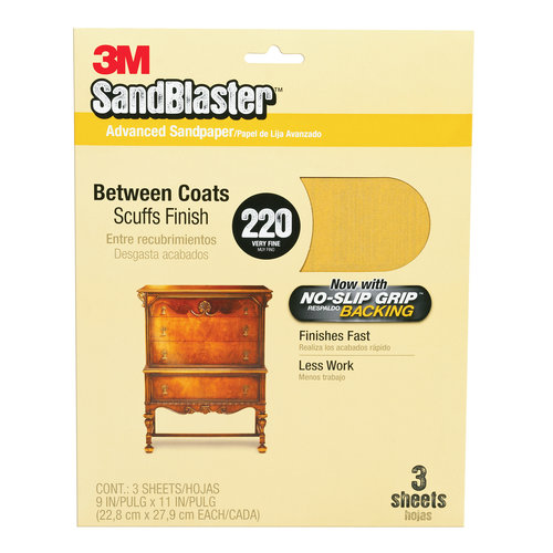 3M SandBlaster Sandpaper with No Slip Grip Backing, 11220-G, 3-2/3 in x 9 in, 220 grit, 5 sheets/pk