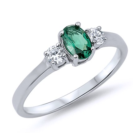 Men Women Sterling Silver Oval Green Color CZ Three Stone Anniversary Ring 6MM ( Size 4 to 12