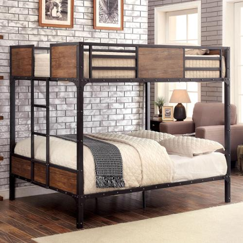 Furniture of America Markain Industrial Metal Bunk Bed Twin over Full