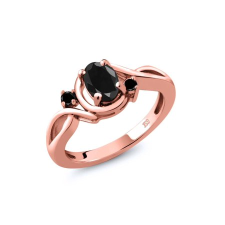 1.14 Ct Oval Black Sapphire Black Diamond 18K Rose Gold Plated Silver Ring