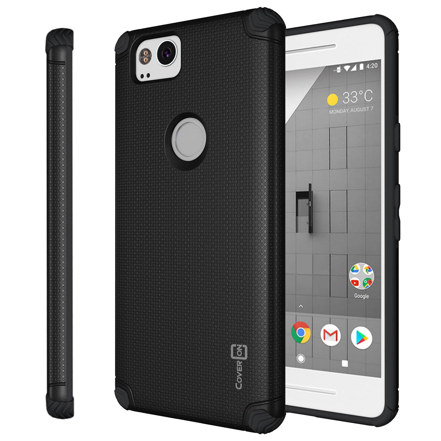 CoverON Google Pixel 2 Case, Bios Series Slim Modern Hard Phone Cover with Magnetic Mount compatibility