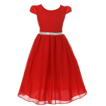 Kiki Kids Girls Red Chiffon Rhinestone Waist Christmas Dress