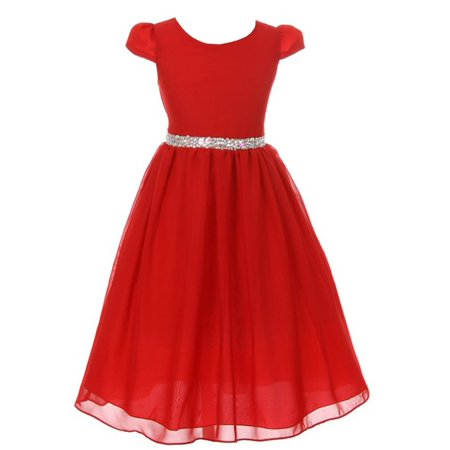 Kiki Kids Girls Red Chiffon Rhinestone Waist Christmas Dress - Dress Kids Girl