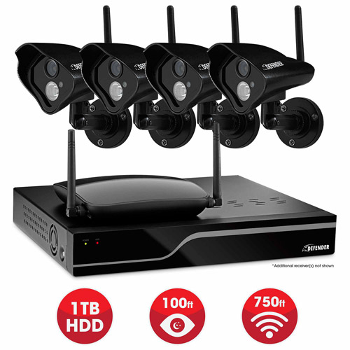 Defender Sentinel Pro Wireless 4-Channel 1TB DVR with 4 Wireless 520TVL Cameras with 100' Night Vision