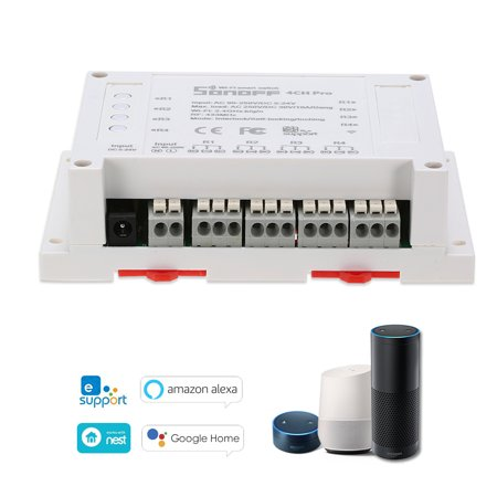 SONOFF 4CH Pro ITEAD RF 433MHz 4 Gang WiFI Switch 3 Working Modes Inching/Self-Locking/Interlock WiFi Smart Switch Works with Amazon Alexa & for Google Home/Nest Smart