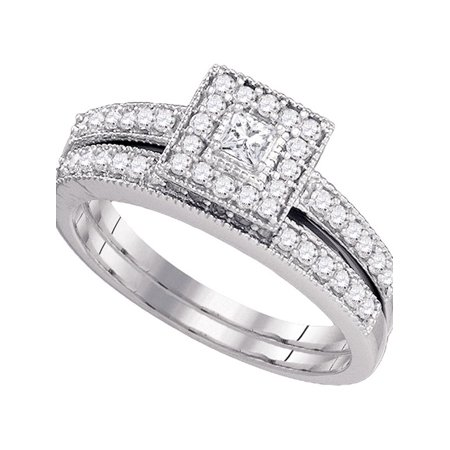 10kt White Gold Womens Princess Diamond Square Halo Bridal Wedding Engagement Ring Band Set 1/2 Cttw Diamond Fine Jewelry Ideal Gifts For Women Gift Set From Heart
