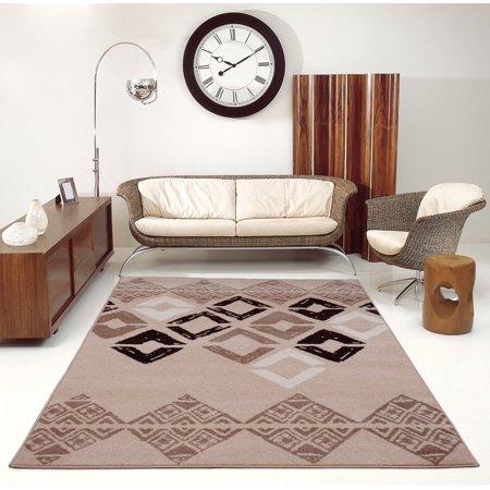 Ladole Rugs Diamond Style Geometric Smooth Innovative Area Rug Carpet in Caramel, 3x5 (2'7