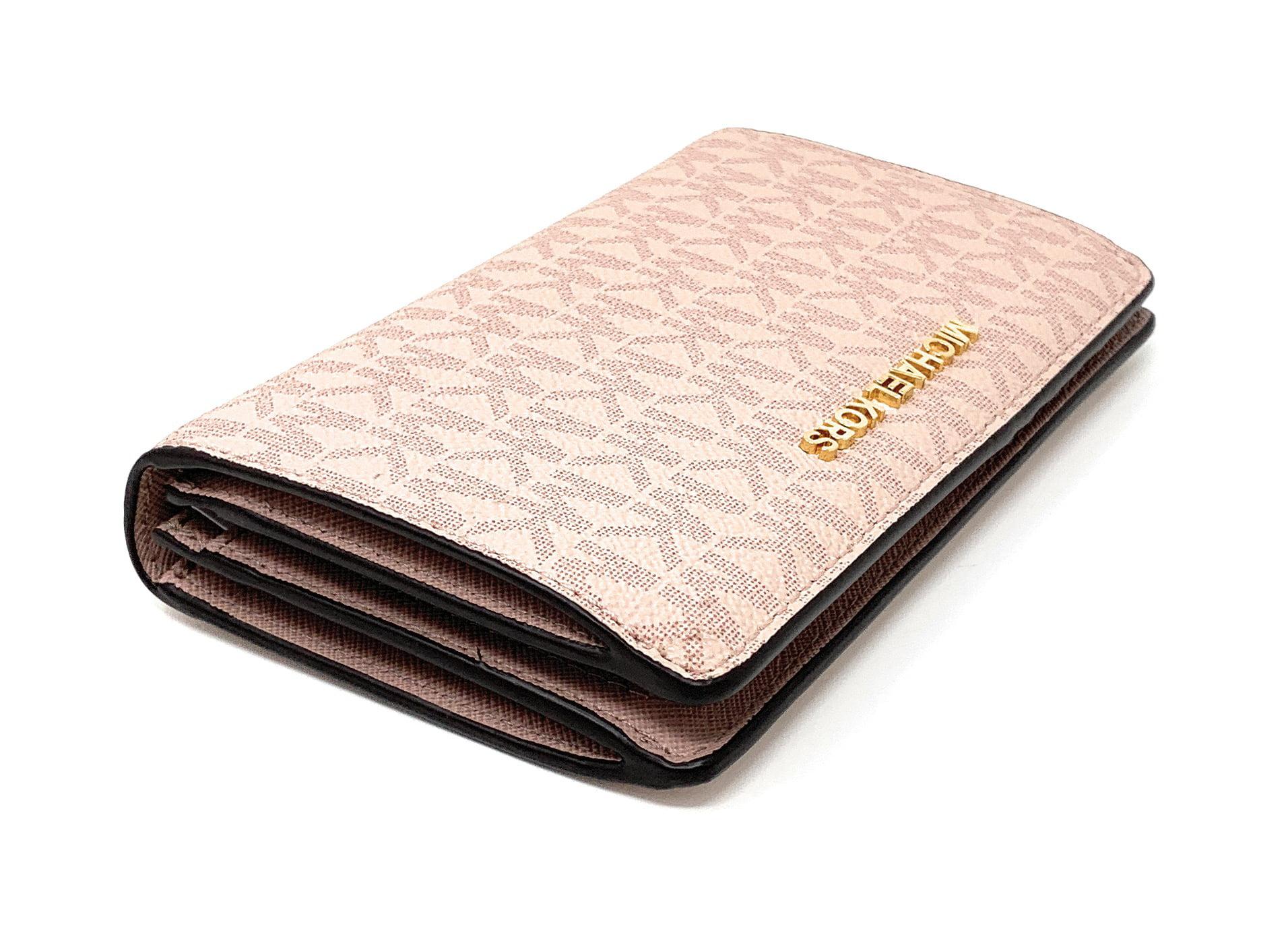 85098e160f41 Michael Kors Jet Set Travel PVC Slim Bifold Wallet Fawn MK Ballet Pink -  Walmart.com