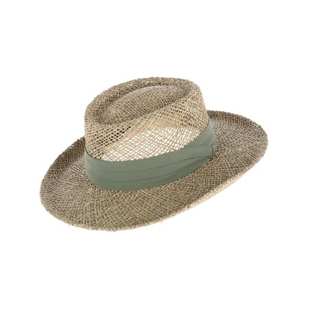 Kenny K  Twisted Seagrass Gambler Hat with Pleated Band (Men's) Seagrass Gambler Hat