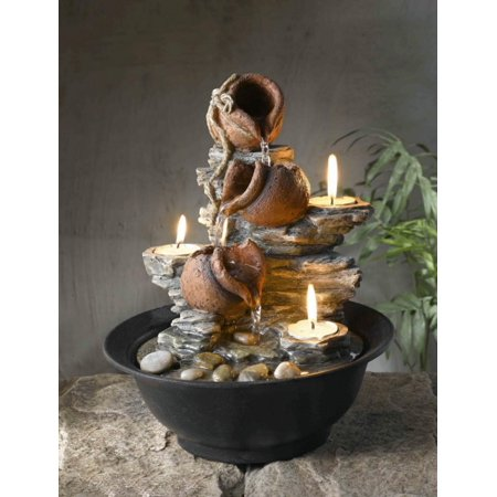 "11"" Mini Pitchers and Rocks Indoor Table Top Water Fountain with Tea Light Candles"
