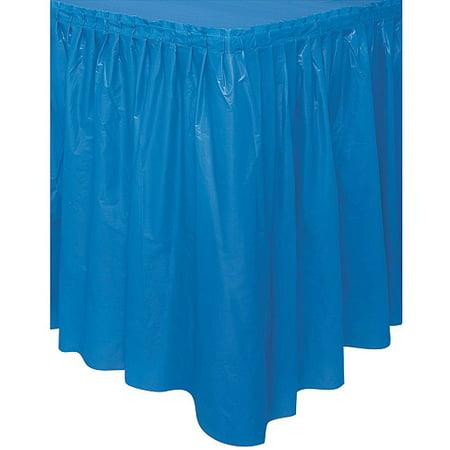 Fringed Table Skirt ((4 pack) Plastic Table Skirt, 14 ft, Royal)